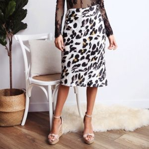 Leopard High Waist Sexy Satin Midi Skirt (Color:Black White Size:M)