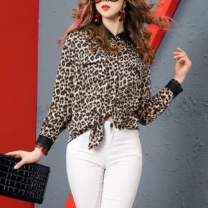 Fashion Leopard Shirt Casual Clothing for Women (Color:As Show Size:XL)