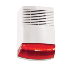 BS-125 50W OUTDOOR WHITE SIREN WITH RED OPTICAL SIGNALING ΣΕΙΡΗΝΑ ΕΞΩΤΕΡΙΚΗ ΛΕΥΚΗ ΜΕ ΚΟΚΚΙΝΟ ΦΑΡΟ