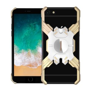 For iPhone 6 Plus / 6 Hero Series Anti-fall Wear-resistant Metal Protective Case with Bracket(Gold Silver)