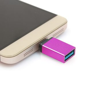 Aluminum Alloy USB-C / Type-C 3.1 Male to USB 3.0 Female Data / Charger Adapter, For Galaxy S8 & S8 + / LG G6 / Huawei P10 & P10 Plus / Xiaomi Mi 6 & Max 2 and other Smartphones(Magenta)