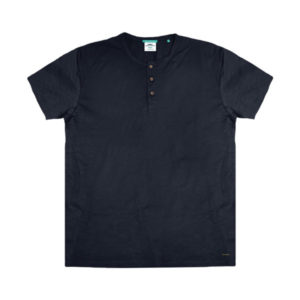 TS-84VA Double T-Shirt Henley Flama (μεγάλα μεγέθη)(indigo)