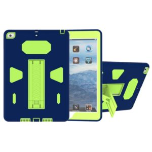 For iPad 9.7 (2018) & iPad 9.7 (2017) PC+Silicone Shockproof Protective Back Cover Case With Holder (Navy)