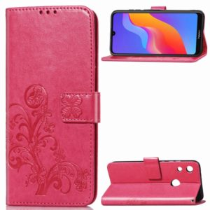 Lucky Clover Pressed Flowers Pattern Leather Case for Huawei Honor 8A, with Holder & Card Slots & Wallet & Hand Strap (Rose Red)