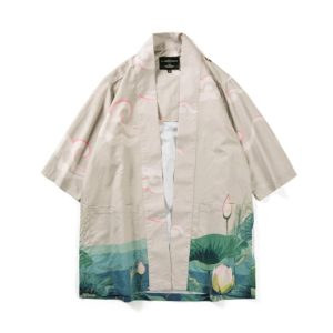 Digital Print Kimono Loose Seven-point Sleeve Shirt for Men and Women(Color:12005# Size:XXL)
