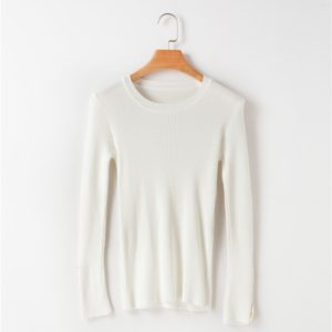 Women Button Round Neck Pullover (Color:White Size:One Size)
