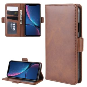 For iPhone XR Double Buckle Crazy Horse Business Mobile Phone Holster with Card Wallet Bracket Function(Brown)