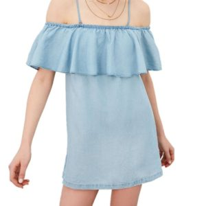 One-Necked Lotus Leaf Collar Denim Skirt Woman Bag Hip Strapless Sexy Denim Dress, Size: S(Blue)