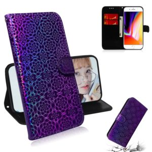 For iPhone 7 / 8 Solid Color Colorful Magnetic Buckle Horizontal Flip PU Leather Case with Holder & Card Slots & Wallet & Lanyard(Purple)
