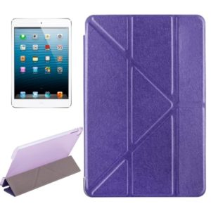Transformers Style Silk Texture Horizontal Flip Solid Color Leather Case with Holder for iPad Mini 2019 (Purple)
