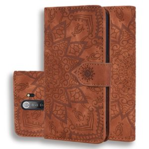 For Xiaomi Redmi Note 8 Pro Calf Pattern Mandala Double Folding Design Embossed Leather Case with Wallet & Holder & Card Slots(Brown)