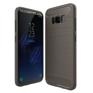 For Galaxy S8 Brushed Carbon Fiber Texture Shockproof TPU Protective Cover Case (Grey)