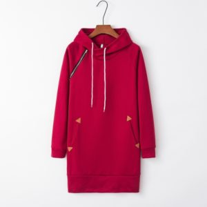 Hooded Zippered Mid-length Dress (Color:Red Size:S)
