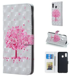 Pink Tree Pattern 3D Horizontal Flip Leather Case for Galaxy A30, with Holder & Card Slots & Photo Frame & Wallet