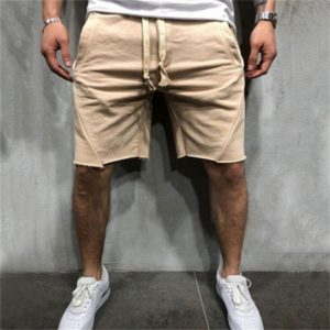 Men Solid Pocket Casual Summer Jogging Half Length Shorts Basketball Shorts, Size: L(Khaki)