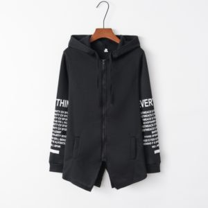 Graffiti Letter Printed Large Size Sweater Zipper Hooded Jacket (Color:Black Size:M)