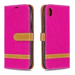 Color Matching Denim Texture Leather Case for Huawei Y5 (2019), with Holder & Card Slots & Wallet & Lanyard(Rose red)