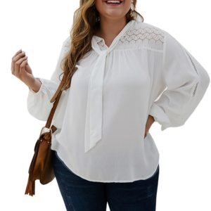 Long-sleeved Solid Color Shirt (Color:White Size:XXXXL)