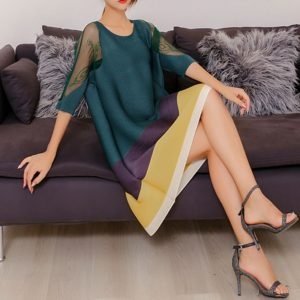A Word Loose Fashion Style Mesh Dress (Color:Dark Green Size:One Size)