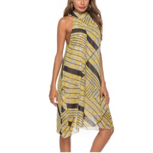 Stand Collar Sleeveless Printed Chiffon Dress Beach Dress (Color:Yellow Size:L)