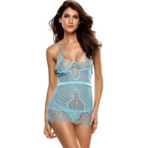 FunAdd European and American Fashion Lace Straps Dress Sleeveless V-neck Hollow Fun Sexy Babydoll Lingerie, Size: S(Blue) (FunAdd)