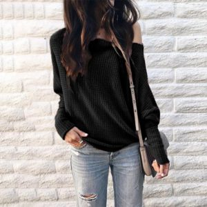 Long Sleeve Loose Printed One-shoulder Knit Shirt (Color:Black Size:L)