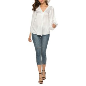 Loose Casual V-neck Solid Color Shirt (Color:White Size:M)