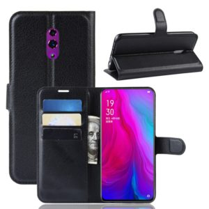 Litchi Texture Horizontal Flip PU Leather Case for OPPO Reno, with Wallet & Holder & Card Slots(Black)