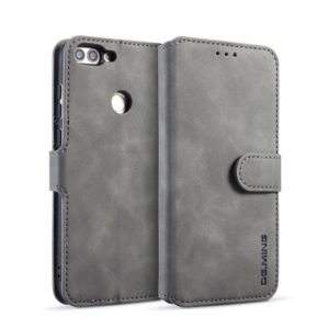 DG.MING Retro Oil Side Horizontal Flip Case with Holder & Card Slots & Wallet for Huawei P Smart / Enjoy 7S(Grey) (DG.MING)