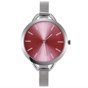 Solid Color Large Dial Stainless Steel Slim Mesh Belt Quartz Watch for Women(Pink)