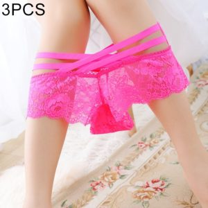 3 PCS FunAdd Women Sexy Lace Hollow Rose Jacquard Thongs Low-waisted Transparent Straps Cross Enticing Panties, Free Size (Magenta) (FunAdd)