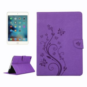 For iPad mini 4 Pressed Flowers Butterfly Pattern Horizontal Flip PU Leather Case with Magnetic Buckle & Holder & Card Slots & Wallet(Purple)