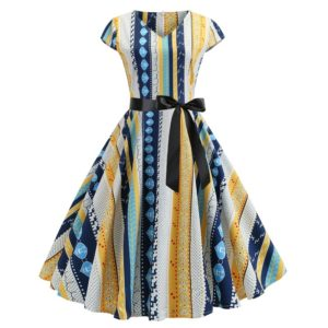 V-neck Fashion Printed Big Swing Dress (Color:Yellow Size:XXL)