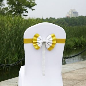 Bow Tie Leather Satin Chair Sash Bands For Wedding Party Spandex Chair Cover For Hotel Chair Decor, Color:Golden