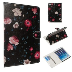 For iPad mini 5 / 4 / 3 / 2 / 1 Colored Drawing Pattern Horizontal Flip PU Leather Case with Holder & Card Slots(Black Backgroud Flower)