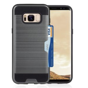 For Galaxy S8 + / G955 with credit card slot holder TPU+PC mobile phone covers(Grey)