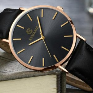 KEMANQI Simple Ultra-thin Waterproof Steel Mesh Belt Quartz Watch for Men(Ultra-thin Rose gold shell black dial black band) (KEMANQI)