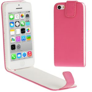 Vertical Flip Leather Case for iPhone 5C(Magenta)