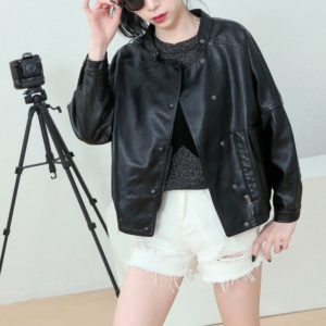Women Casual Stand Collar Leather Jacket (Color:Black Size:S)
