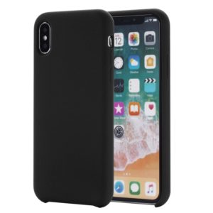 Four Corners Full Coverage Liquid Silicone Protective Case Back Cover for iPhone XS Max 6.5 inch(Black)
