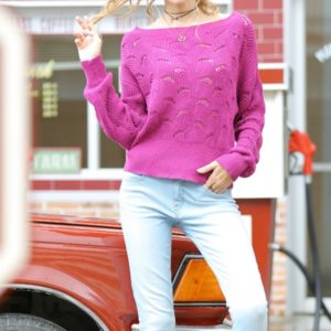 Bat Sleeves Word Collar Hollow Long-sleeved Sweater, Size: S(Rose Red)