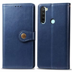 For Xiaomi Redmi Note 8 Retro Solid Color Leather Buckle Phone Case with Lanyard & Photo Frame & Card Slot & Wallet & Stand Function(Blue)