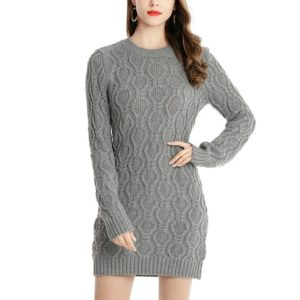 Twisting Sweater Sweater Women S Long Section Knitted Dress, Size: XL(Grey)