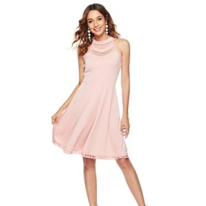 Women Hollow Mesh Sleeveless Midi Length Dress (Color:Pink Size:XL)
