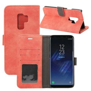 For Galaxy S9+ Sheep Bar Material PU + PC Horizontal Flip Leather Case with Holder & Card Slots & Wallet(Red)