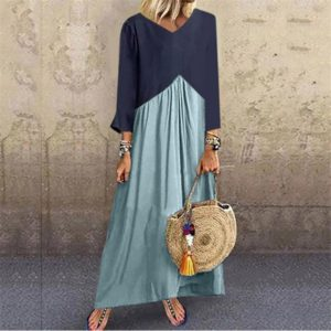 Stitching Contrast Color Irregular Long-sleeved Dress, Size: L(Light Blue)