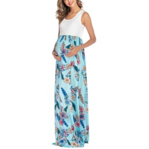 Sleeveless Printed Patchwork Maternity Dress (Color:Blue Size:XXL)