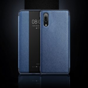 Cross Texture Horizontal Flip Leather Case for Huawei P20, with Call Answering Function & Sleep / Wake-up (Blue)