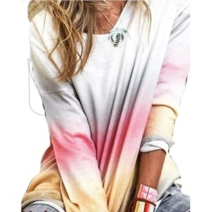 Women Loose Long-sleeved Shirt Gradient T-shirt (Color:Red Size:XXL)
