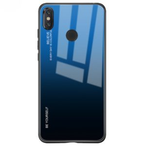 For Xiaomi Mi Mix Gradient Color Glass Case(Blue)